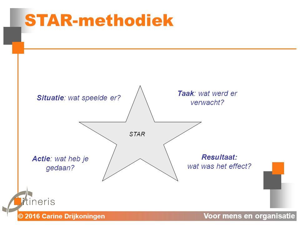 © 2016 Carine Drijkoningen Voor mens en organisatie STAR-methodiek Actie: wat heb je gedaan.