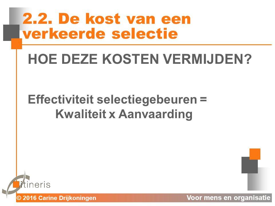 © 2016 Carine Drijkoningen Voor mens en organisatie Foute selecties vermijden: E = K x A