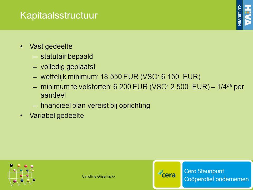Kapitaalsstructuur Vast gedeelte –statutair bepaald –volledig geplaatst –wettelijk minimum: 18.550 EUR (VSO: 6.150 EUR) –minimum te volstorten: 6.200 EUR (VSO: 2.500 EUR) – 1/4 de per aandeel –financieel plan vereist bij oprichting Variabel gedeelte Caroline Gijselinckx 27