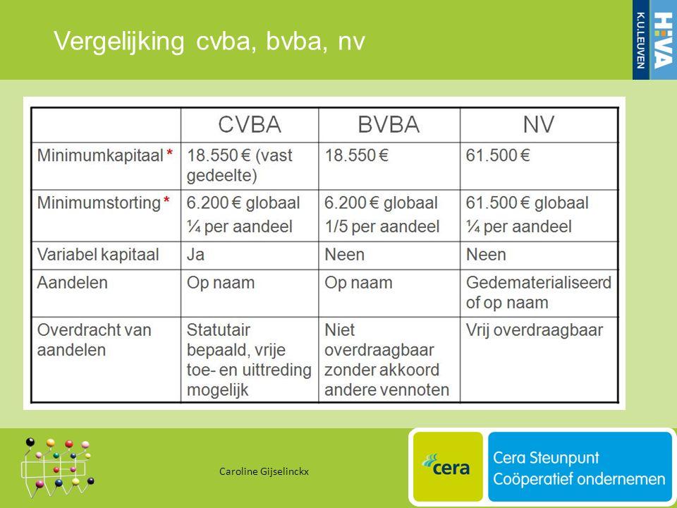 Vergelijking cvba, bvba, nv Caroline Gijselinckx 31