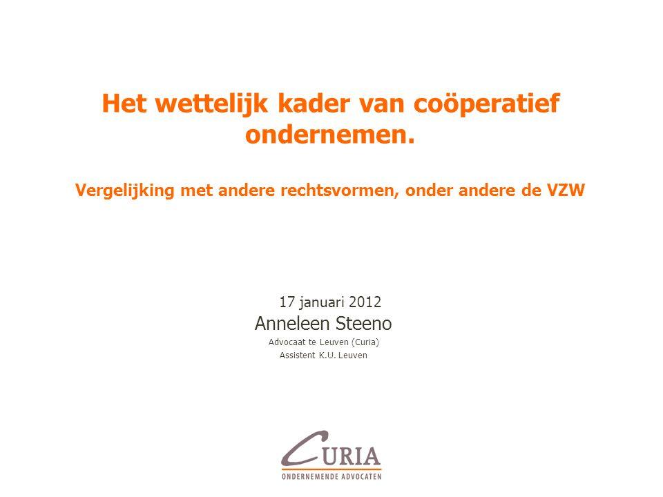 Het wettelijk kader van coöperatief ondernemen.