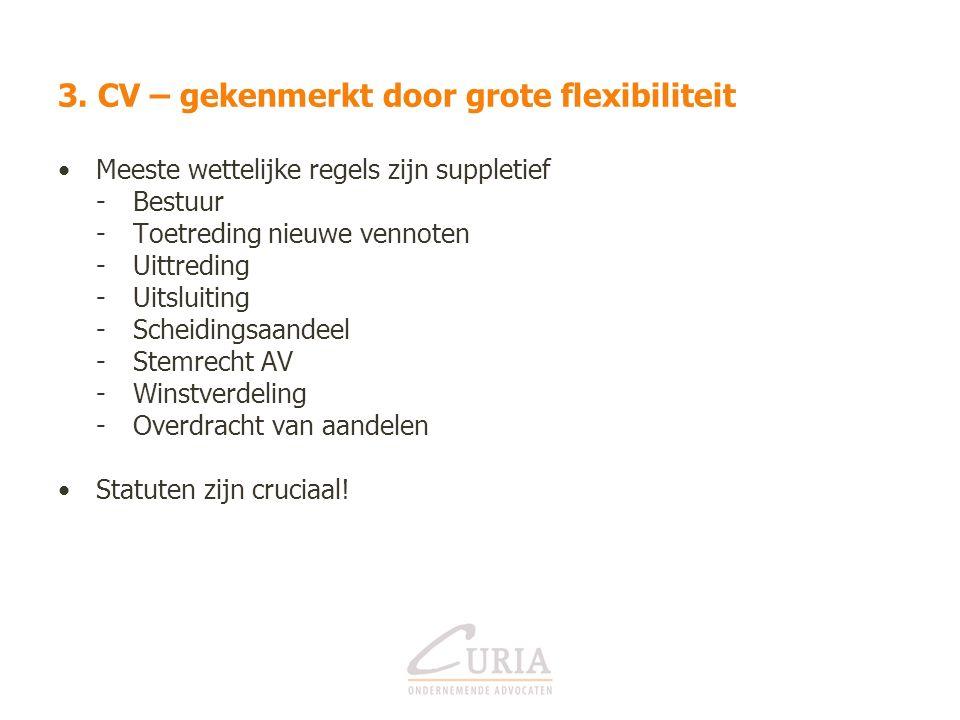 3. CV – gekenmerkt door grote flexibiliteit Meeste wettelijke regels zijn suppletief -Bestuur -Toetreding nieuwe vennoten -Uittreding -Uitsluiting -Sc
