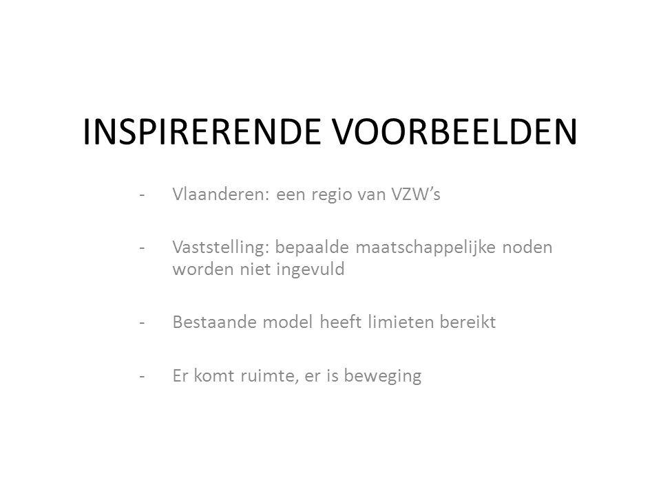 INSPIRERENDE VOORBEELDEN -Vlaanderen: een regio van VZW's -Vaststelling: bepaalde maatschappelijke noden worden niet ingevuld -Bestaande model heeft limieten bereikt -Er komt ruimte, er is beweging