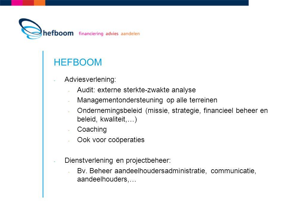 HEFBOOM - Adviesverlening: - Audit: externe sterkte-zwakte analyse - Managementondersteuning op alle terreinen - Ondernemingsbeleid (missie, strategie, financieel beheer en beleid, kwaliteit,…) - Coaching - Ook voor coöperaties - Dienstverlening en projectbeheer: - Bv.