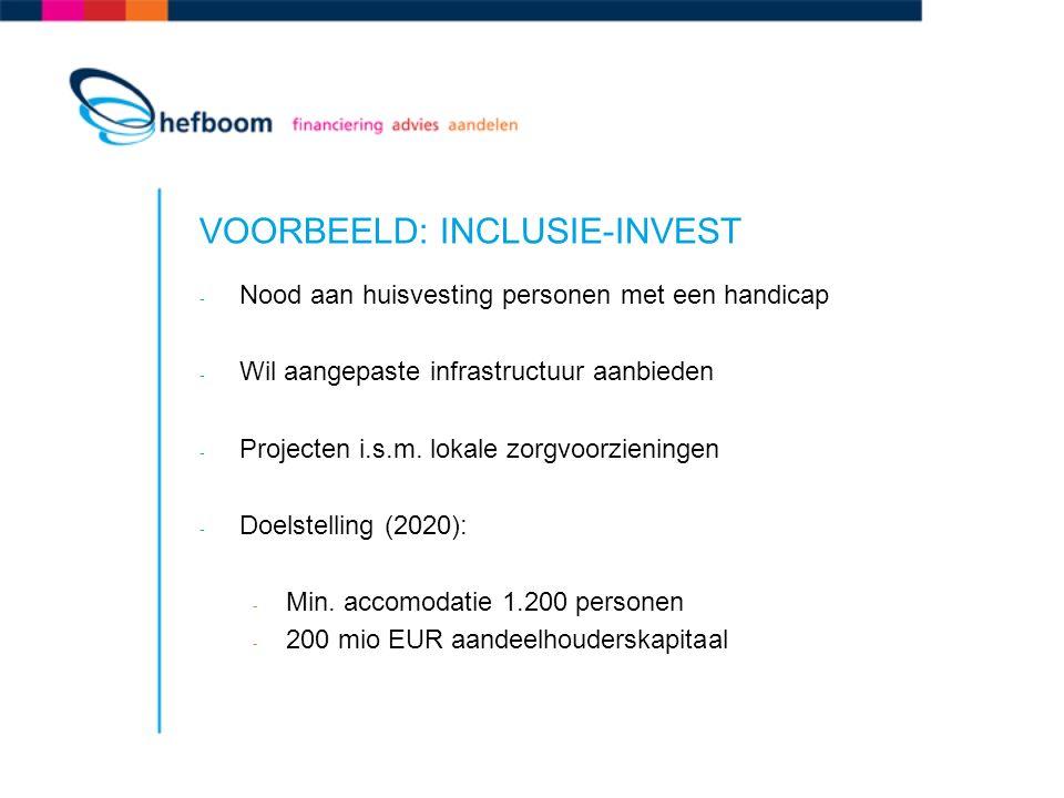 VOORBEELD: INCLUSIE-INVEST - Nood aan huisvesting personen met een handicap - Wil aangepaste infrastructuur aanbieden - Projecten i.s.m.