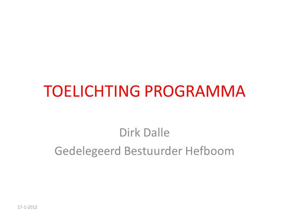 TOELICHTING PROGRAMMA Dirk Dalle Gedelegeerd Bestuurder Hefboom 17-1-2012