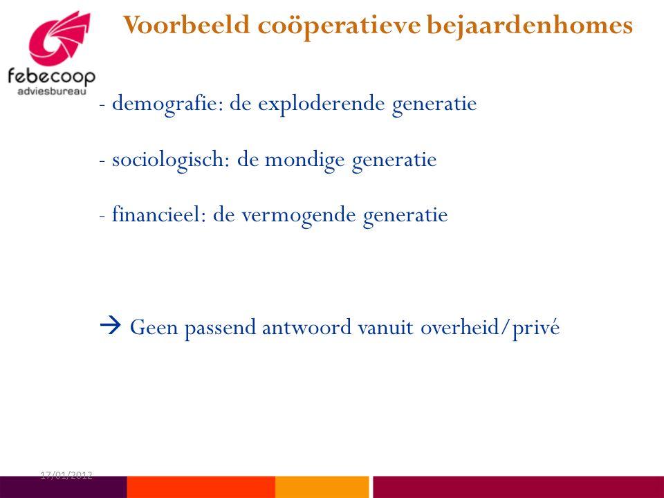 Voorbeeld coöperatieve bejaardenhomes - demografie: de exploderende generatie - sociologisch: de mondige generatie - financieel: de vermogende generatie  Geen passend antwoord vanuit overheid/privé 17/01/2012