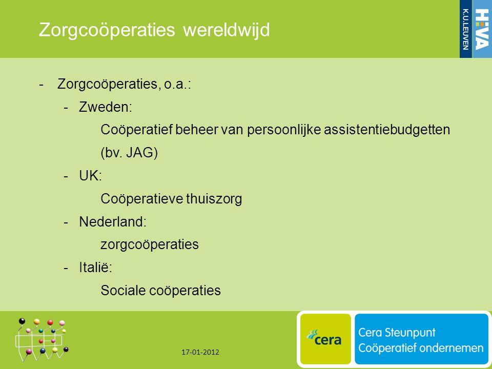 Zorgcoöperaties wereldwijd -Zorgcoöperaties, o.a.: -Zweden: Coöperatief beheer van persoonlijke assistentiebudgetten (bv.