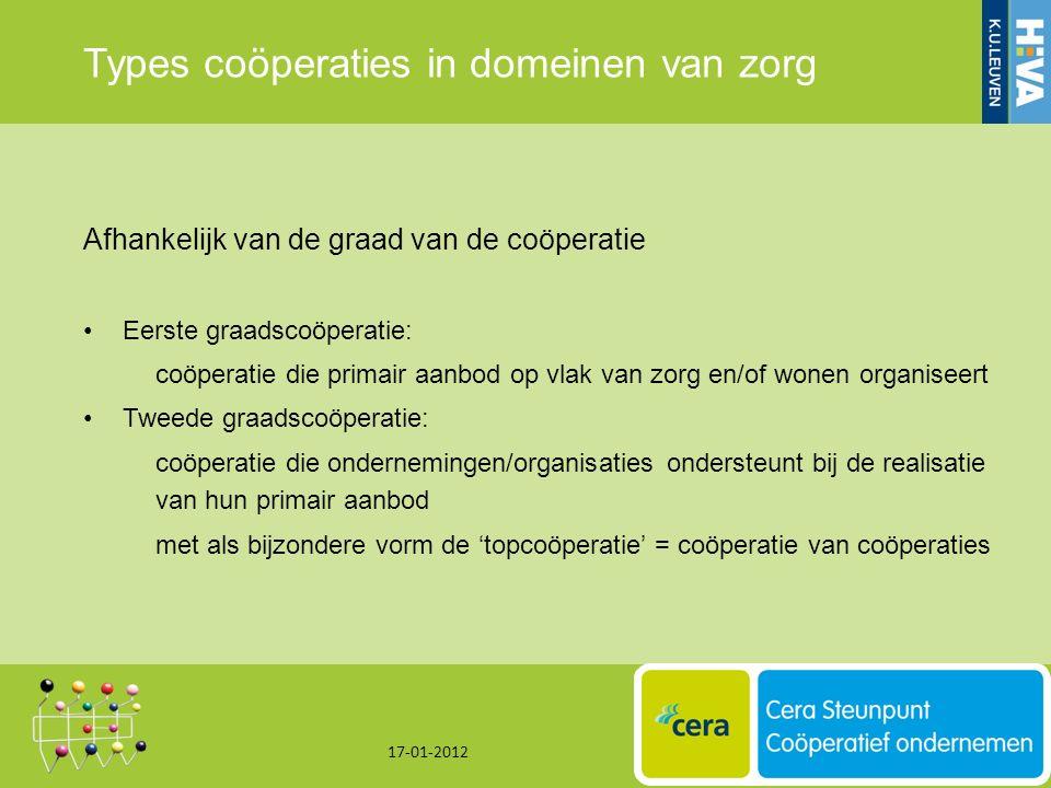 Types coöperaties in domeinen van zorg Afhankelijk van de graad van de coöperatie Eerste graadscoöperatie: coöperatie die primair aanbod op vlak van zorg en/of wonen organiseert Tweede graadscoöperatie: coöperatie die ondernemingen/organisaties ondersteunt bij de realisatie van hun primair aanbod met als bijzondere vorm de 'topcoöperatie' = coöperatie van coöperaties 17-01-2012