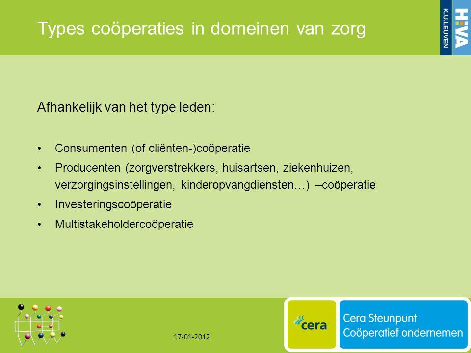 Types coöperaties in domeinen van zorg Afhankelijk van het type leden: Consumenten (of cliënten-)coöperatie Producenten (zorgverstrekkers, huisartsen, ziekenhuizen, verzorgingsinstellingen, kinderopvangdiensten…) –coöperatie Investeringscoöperatie Multistakeholdercoöperatie 17-01-2012