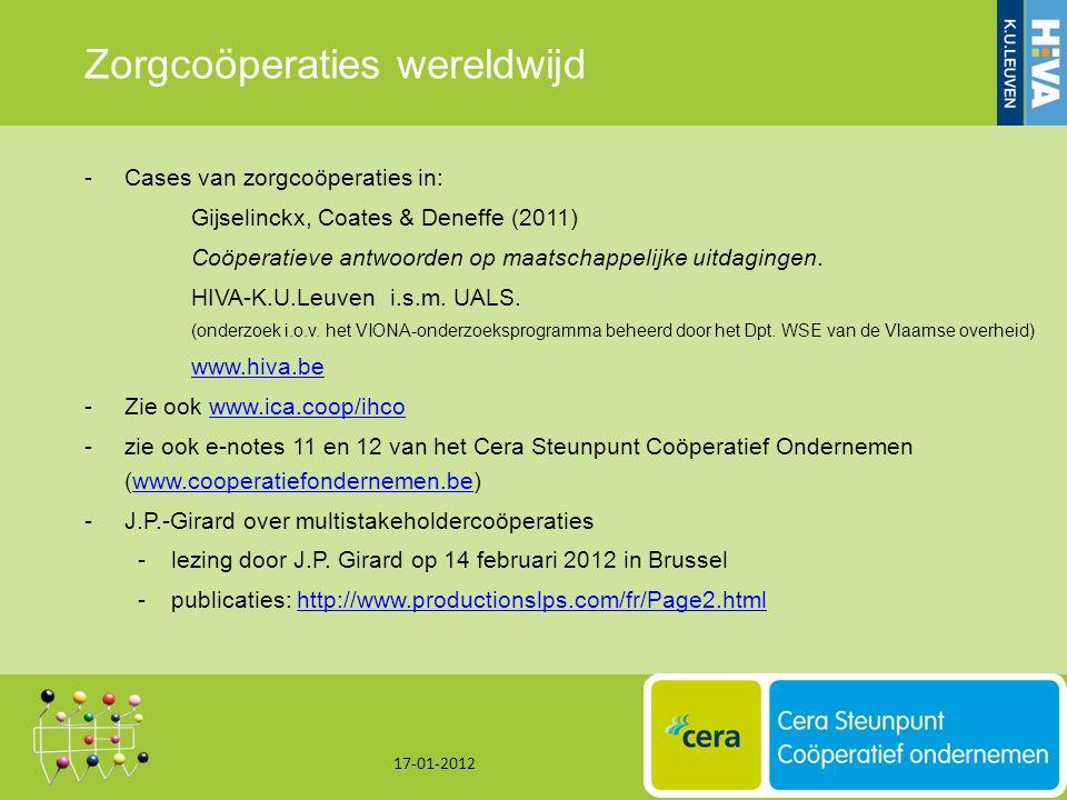 Zorgcoöperaties wereldwijd -Cases van zorgcoöperaties in: Gijselinckx, Coates & Deneffe (2011) Coöperatieve antwoorden op maatschappelijke uitdagingen.