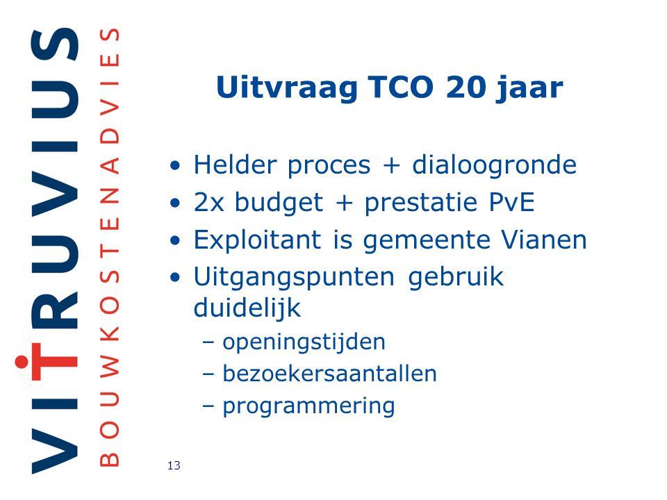 Uitvraag TCO 20 jaar Helder proces + dialoogronde 2x budget + prestatie PvE Exploitant is gemeente Vianen Uitgangspunten gebruik duidelijk –openingstijden –bezoekersaantallen –programmering 13