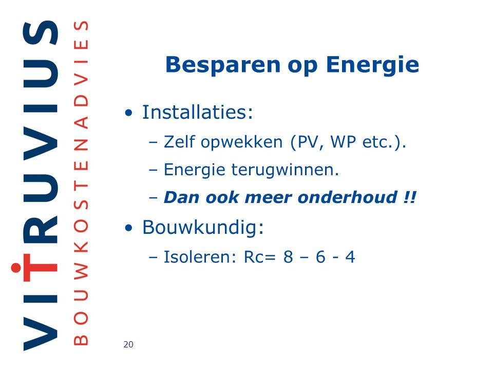 Besparen op Energie Installaties: –Zelf opwekken (PV, WP etc.).