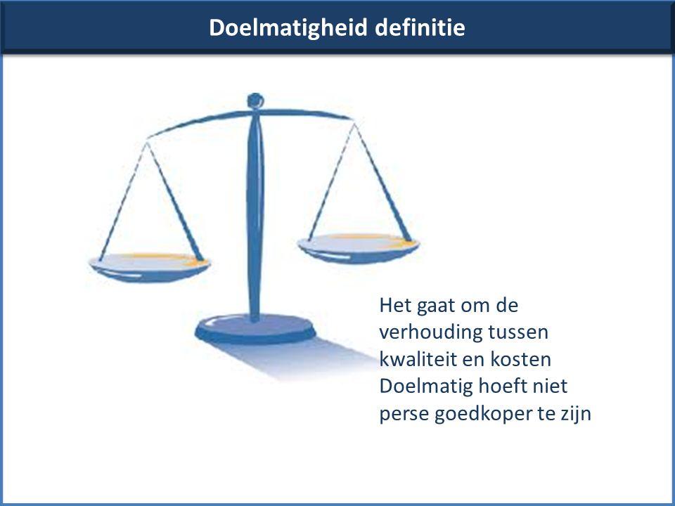Doelmatigheid definitie Het gaat om de verhouding tussen kwaliteit en kosten Doelmatig hoeft niet perse goedkoper te zijn