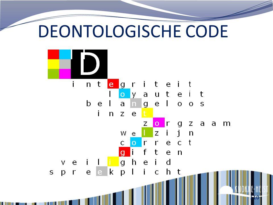 109 Deontologische code E-policy Middelenbeleid (arbeidsreglement)