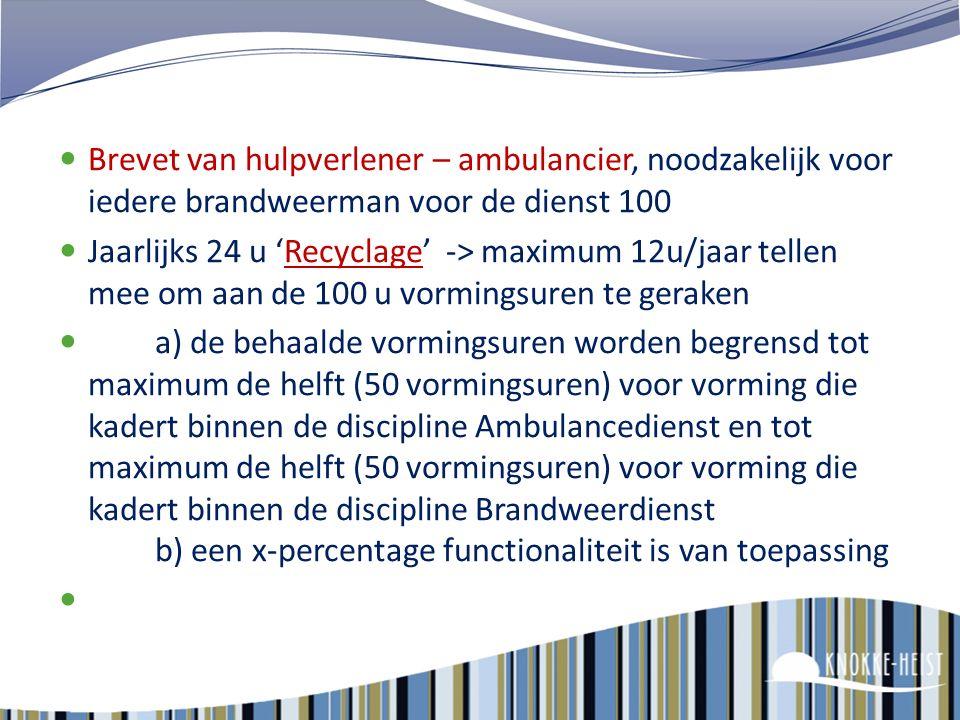 Vorming bij de brandweer Het beroepsbrandweerpersoneel krijgt geen dienstvrijstelling voor deelname aan vorming. Voor deelname aan vorming die valt bi