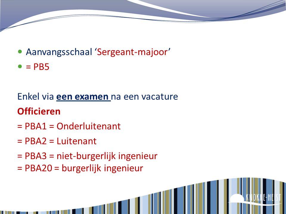 Aanvangsschaal 'Sergeant' Of via anciënniteit te behalen PB3 = 18 jaar dienstanciënniteit + gunstige evaluatie + brevet van sergeant of 100u door erke