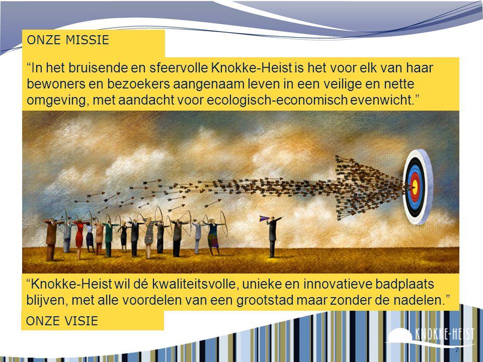 7 ONZE MISSIE In het bruisende en sfeervolle Knokke-Heist is het voor elk van haar bewoners en bezoekers aangenaam leven in een veilige en nette omgeving, met aandacht voor ecologisch-economisch evenwicht. Knokke-Heist wil dé kwaliteitsvolle, unieke en innovatieve badplaats blijven, met alle voordelen van een grootstad maar zonder de nadelen. ONZE VISIE