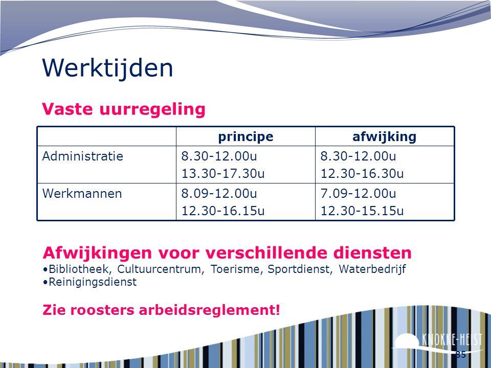 84 Werktijden Systeem met glijdende uren Aanvang van de werkdag : tussen 8u en 9u Middagpauze : tussen 11u45 en 13u45 Beëindiging van de werkdag : tus