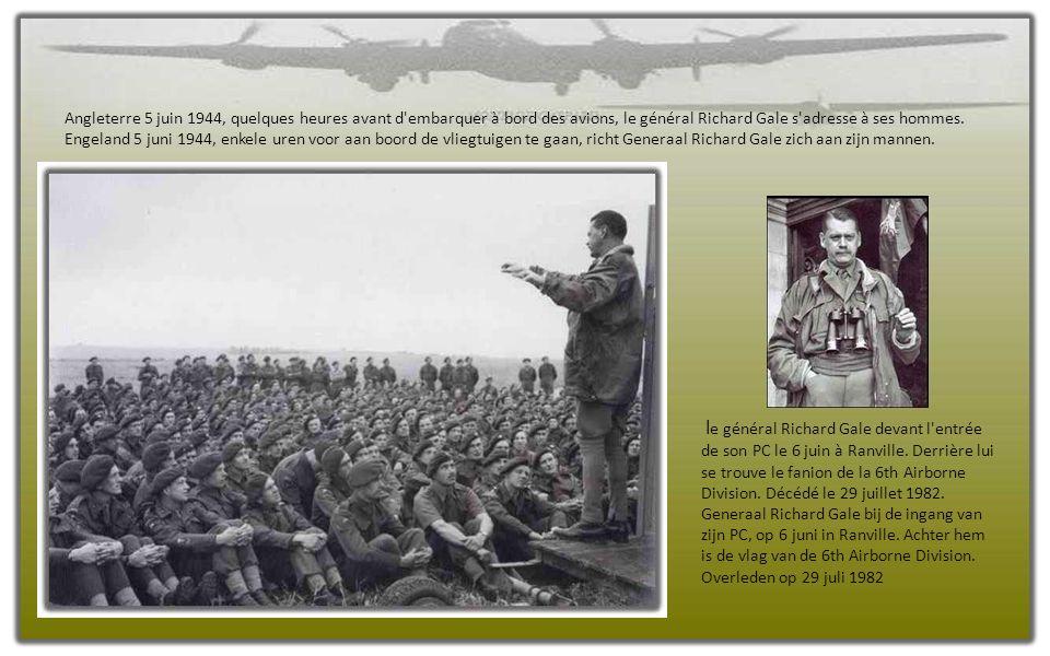 Angleterre 5 juin 1944, quelques heures avant d embarquer à bord des avions, le général Richard Gale s adresse à ses hommes.