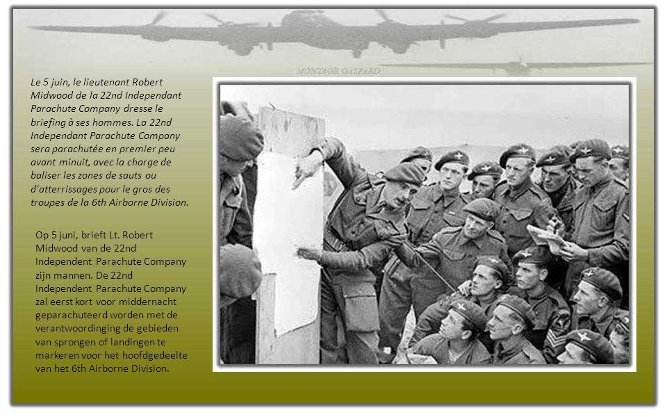 Le 5 juin, le lieutenant Robert Midwood de la 22nd Independant Parachute Company dresse le briefing à ses hommes.