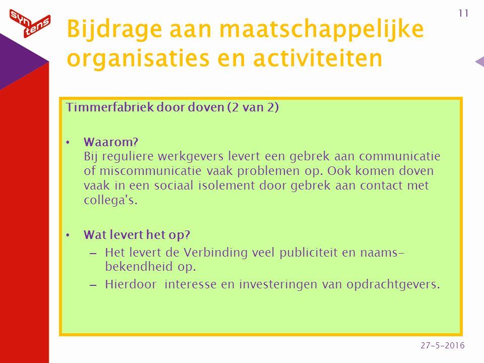 Bijdrage aan maatschappelijke organisaties en activiteiten Timmerfabriek door doven (2 van 2) Waarom? Bij reguliere werkgevers levert een gebrek aan c