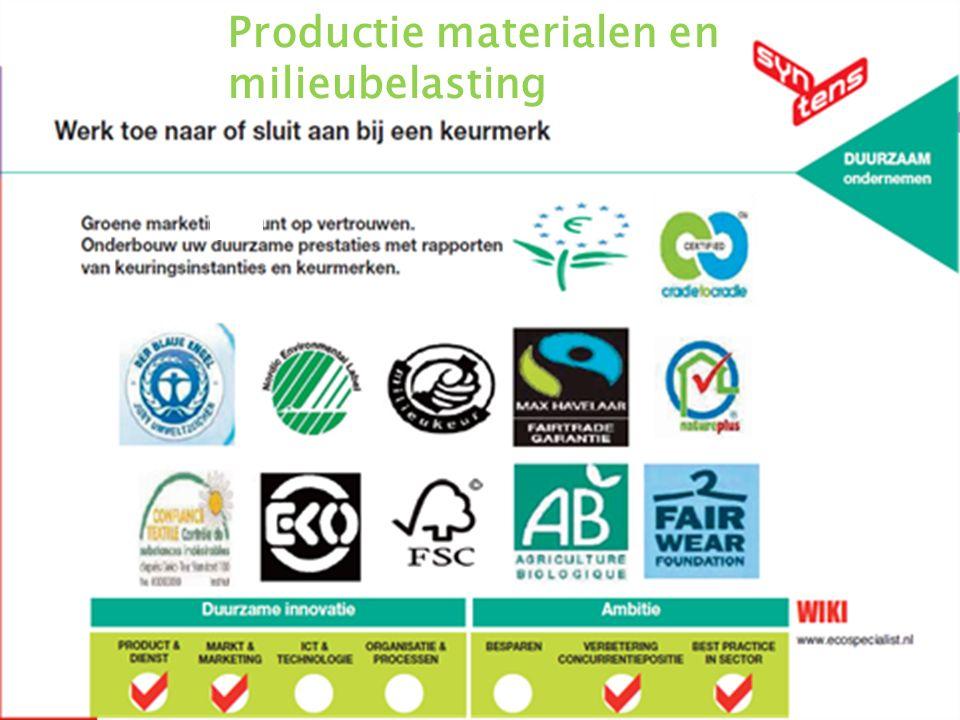 Wijze van productie materialen en de milieubelasting daarvan 14 27-5-2016 Productie materialen en milieubelasting
