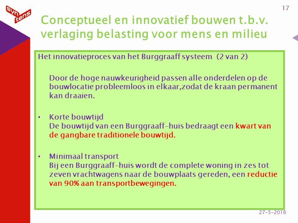 Conceptueel en innovatief bouwen t.b.v. verlaging belasting voor mens en milieu Het innovatieproces van het Burggraaff systeem (2 van 2) Door de hoge
