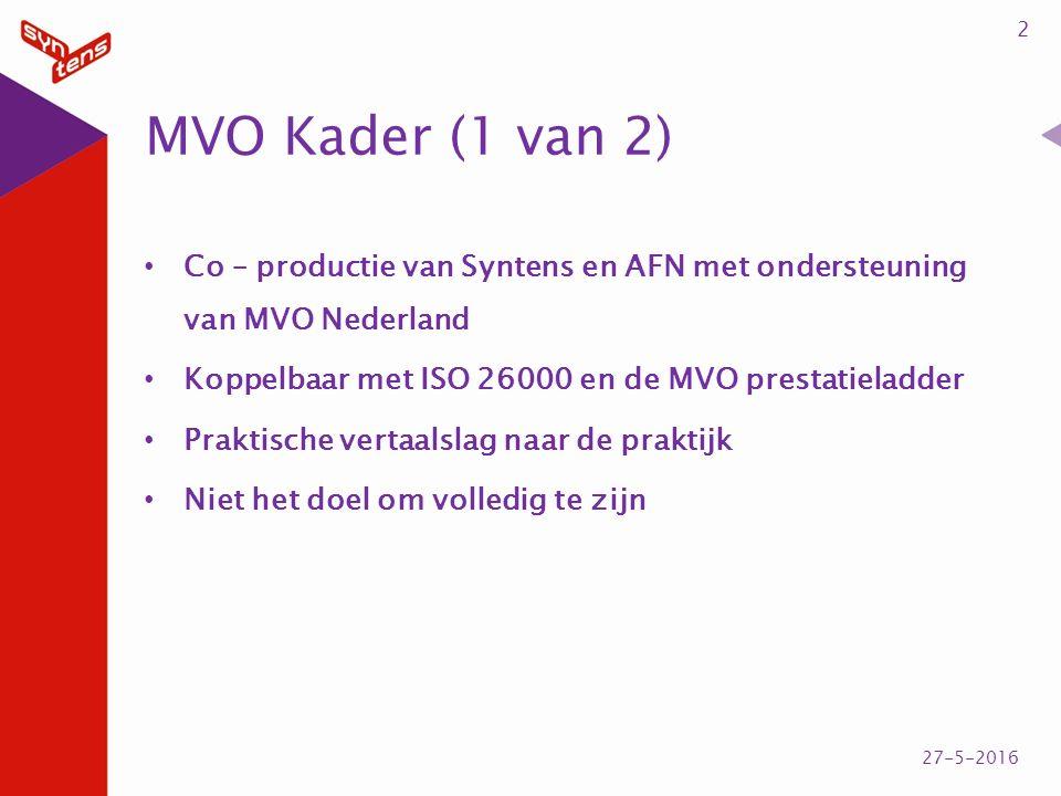 MVO Kader (1 van 2) Co – productie van Syntens en AFN met ondersteuning van MVO Nederland Koppelbaar met ISO 26000 en de MVO prestatieladder Praktisch