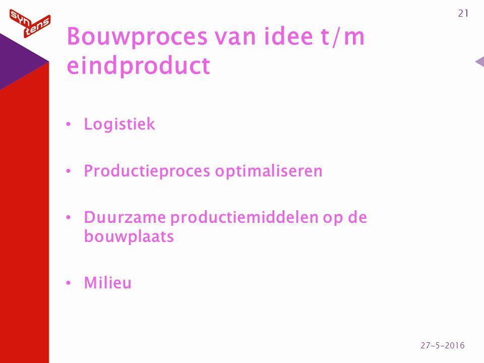 Bouwproces van idee t/m eindproduct Logistiek Productieproces optimaliseren Duurzame productiemiddelen op de bouwplaats Milieu 21 27-5-2016