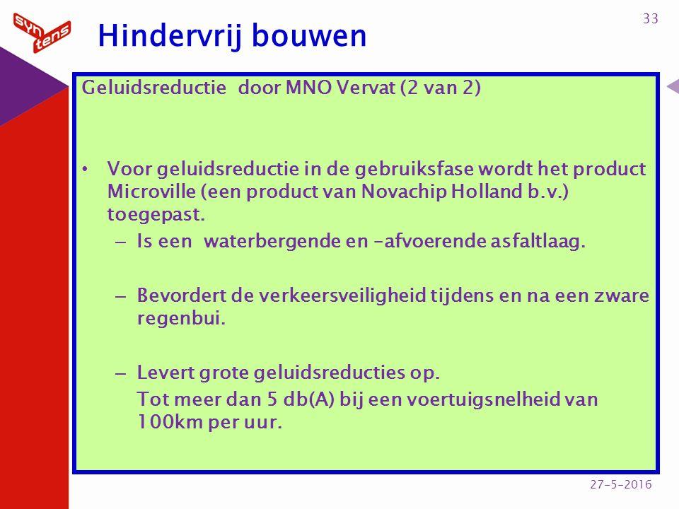 Hindervrij bouwen Geluidsreductie door MNO Vervat (2 van 2) Voor geluidsreductie in de gebruiksfase wordt het product Microville (een product van Novachip Holland b.v.) toegepast.