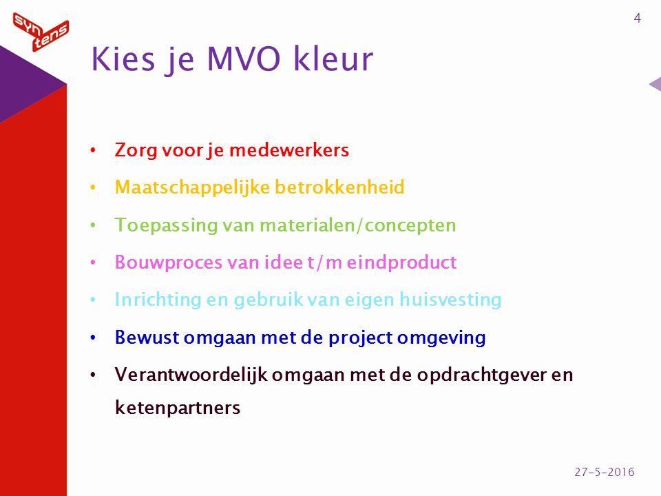 Kies je MVO kleur 4 27-5-2016 Zorg voor je medewerkers Maatschappelijke betrokkenheid Toepassing van materialen/concepten Bouwproces van idee t/m eind