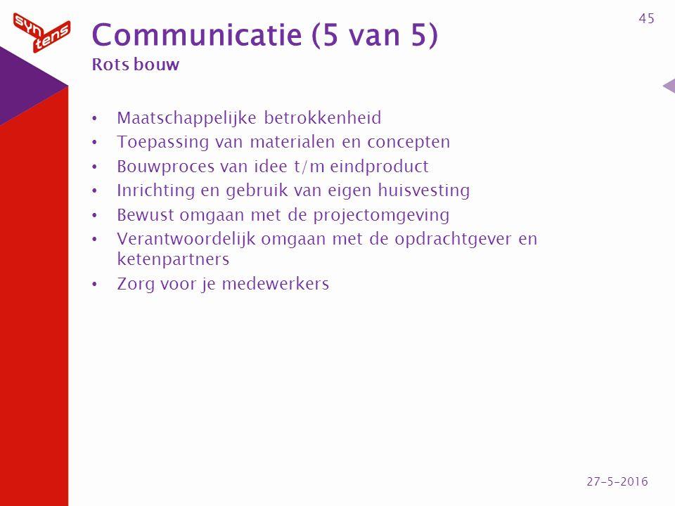 Communicatie (5 van 5) Rots bouw Maatschappelijke betrokkenheid Toepassing van materialen en concepten Bouwproces van idee t/m eindproduct Inrichting