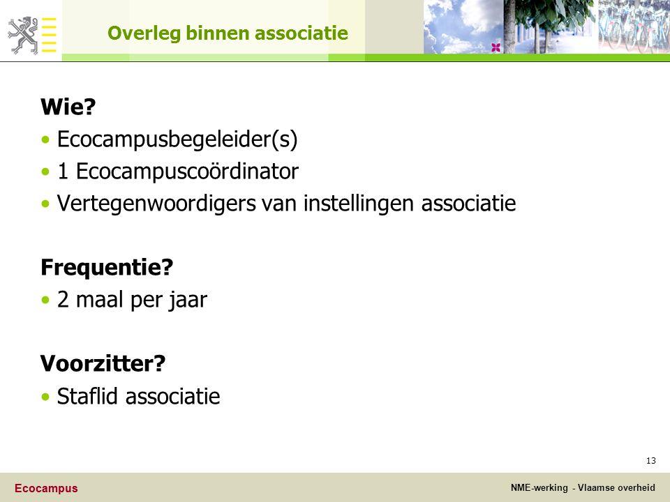 Ecocampus NME-werking - Vlaamse overheid Ecocampus 13 Overleg binnen associatie Wie.