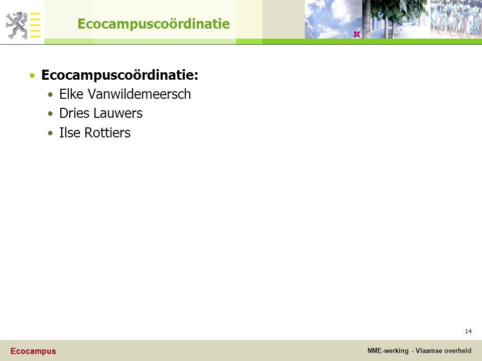 Ecocampus NME-werking - Vlaamse overheid Ecocampus 14 Ecocampuscoördinatie Ecocampuscoördinatie: Elke Vanwildemeersch Dries Lauwers Ilse Rottiers