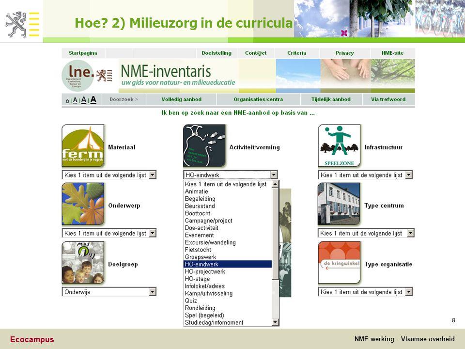 Ecocampus NME-werking - Vlaamse overheid Ecocampus 8 Hoe? 2) Milieuzorg in de curricula