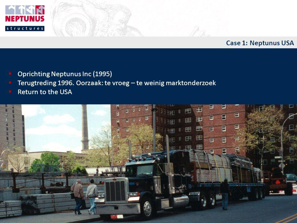 Case 1: Neptunus USA  Oprichting Neptunus Inc (1995)  Terugtreding 1996.
