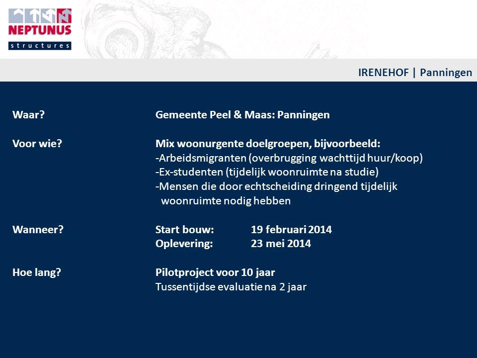 IRENEHOF | Panningen Waar? Gemeente Peel & Maas: Panningen Voor wie? Mix woonurgente doelgroepen, bijvoorbeeld: -Arbeidsmigranten (overbrugging wachtt