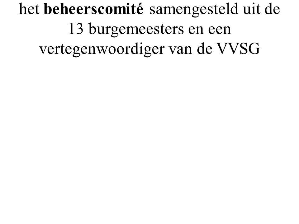 het beheerscomité samengesteld uit de 13 burgemeesters en een vertegenwoordiger van de VVSG