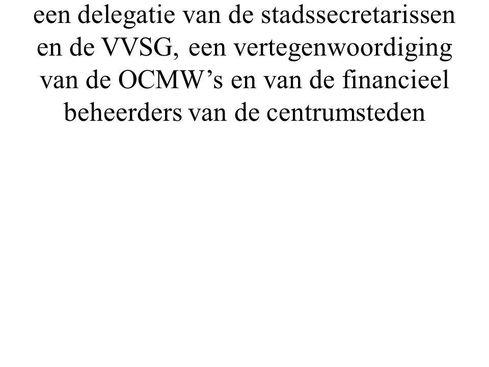 het dagelijks bestuur dat bestaat uit een delegatie van de stadssecretarissen en de VVSG, een vertegenwoordiging van de OCMW's en van de financieel be