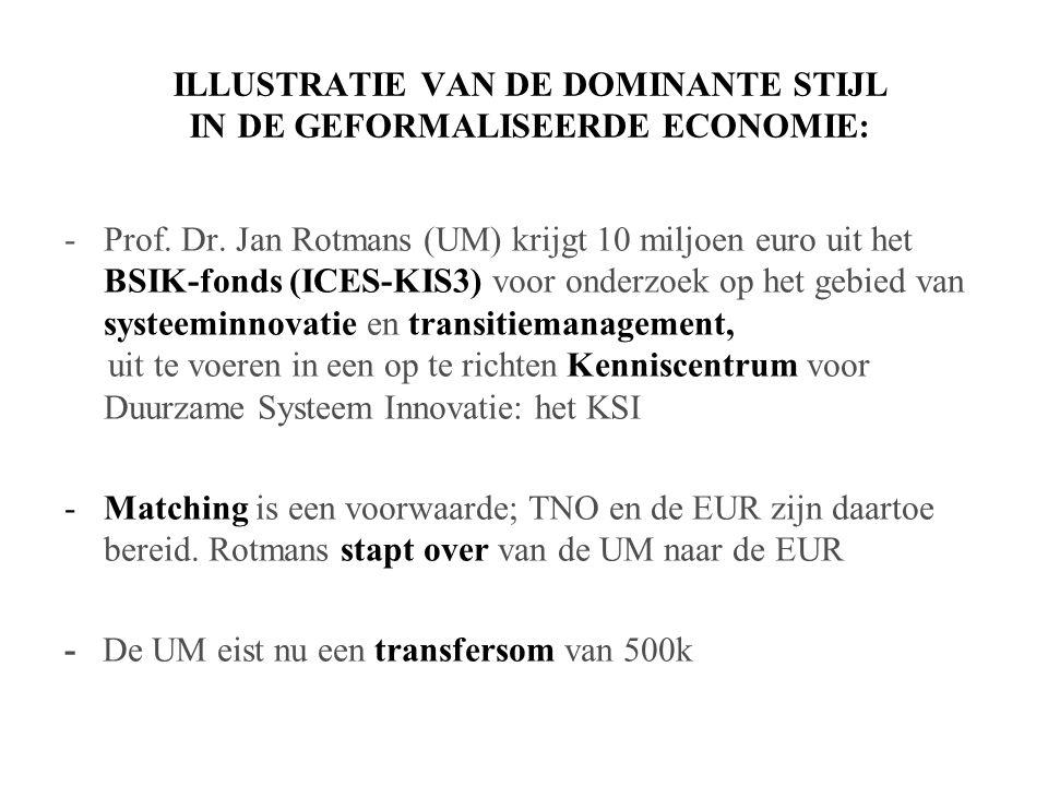 ILLUSTRATIE VAN DE DOMINANTE STIJL IN DE GEFORMALISEERDE ECONOMIE: -Prof.