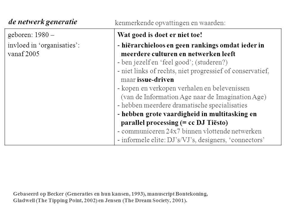 VAN TEKST NAAR BEELD CULTUUR TEKST =sequentieel, analytisch, logisch, eenstemmig nodigt uit tot precisering BEELD =parallel, holistisch (het is er ineens helemaal), polyfoon, nodigt uit tot interpretaties Oudere generatie: impact Tekst > Beeld (the Information Age) Jongere generatie: impact Tekst < Beeld (the Imagineering Age) - beeldcultuur: komen de taal binnen als visuele gedichten - virtueel = reëel - het verhaal (narratief) = de waarheid