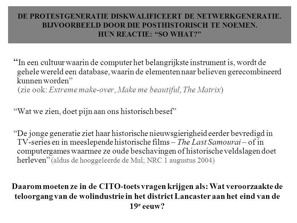 DE PROTESTGENERATIE DISKWALIFICEERT DE NETWERKGENERATIE.