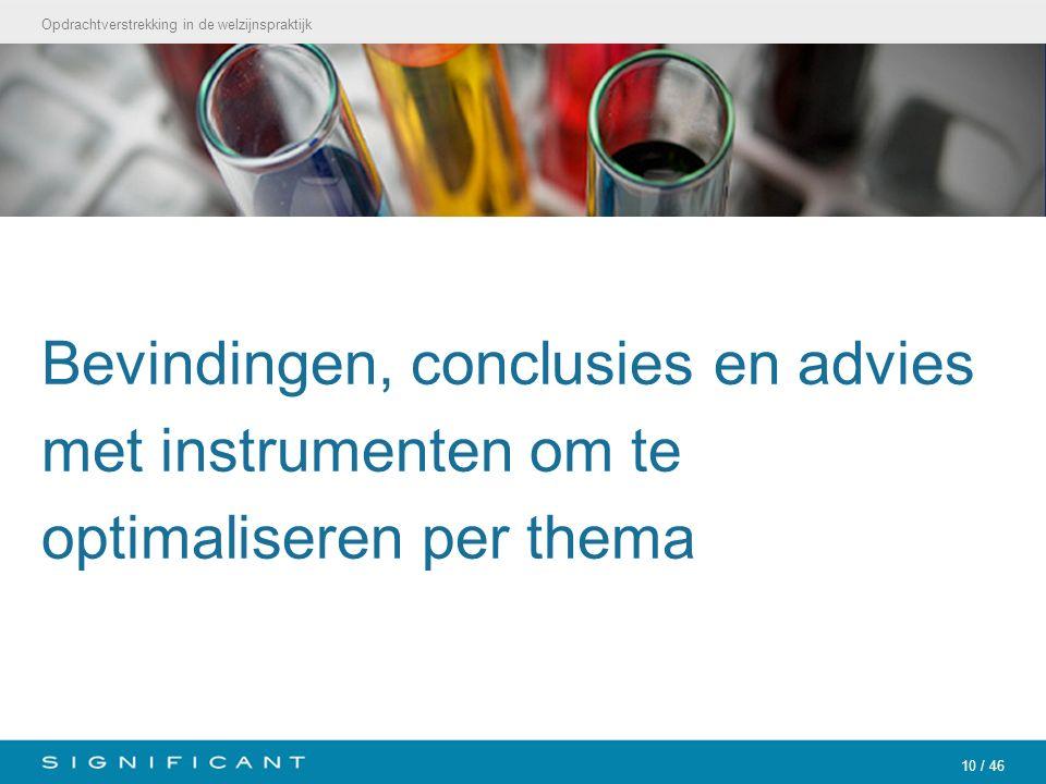 Opdrachtverstrekking in de welzijnspraktijk 10 / 46 Bevindingen, conclusies en advies met instrumenten om te optimaliseren per thema