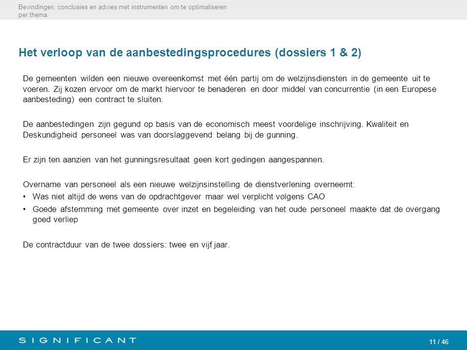 11 / 46 Het verloop van de aanbestedingsprocedures (dossiers 1 & 2) De gemeenten wilden een nieuwe overeenkomst met één partij om de welzijnsdiensten