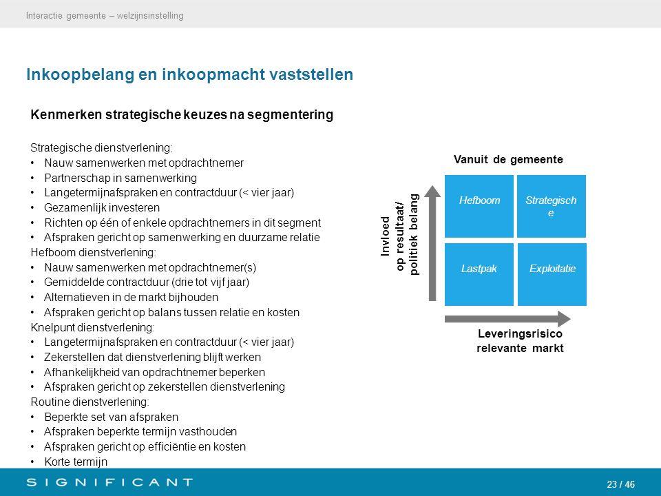 23 / 46 Inkoopbelang en inkoopmacht vaststellen Kenmerken strategische keuzes na segmentering Strategische dienstverlening: Nauw samenwerken met opdra