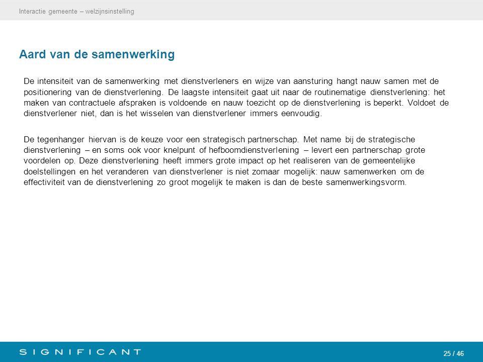 25 / 46 Aard van de samenwerking De intensiteit van de samenwerking met dienstverleners en wijze van aansturing hangt nauw samen met de positionering van de dienstverlening.