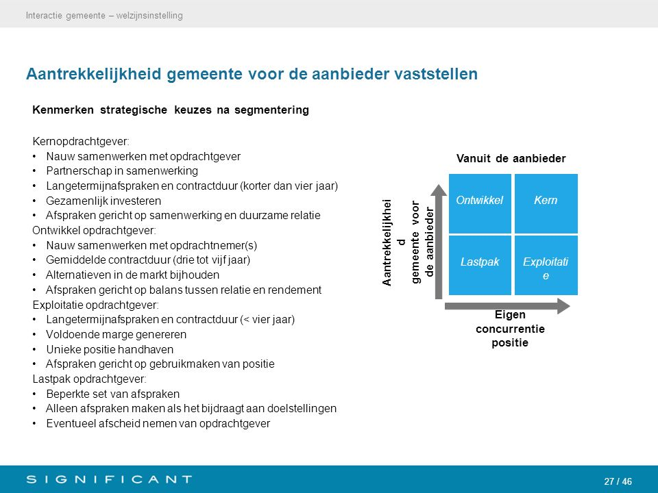 27 / 46 Aantrekkelijkheid gemeente voor de aanbieder vaststellen Kenmerken strategische keuzes na segmentering Kernopdrachtgever: Nauw samenwerken met
