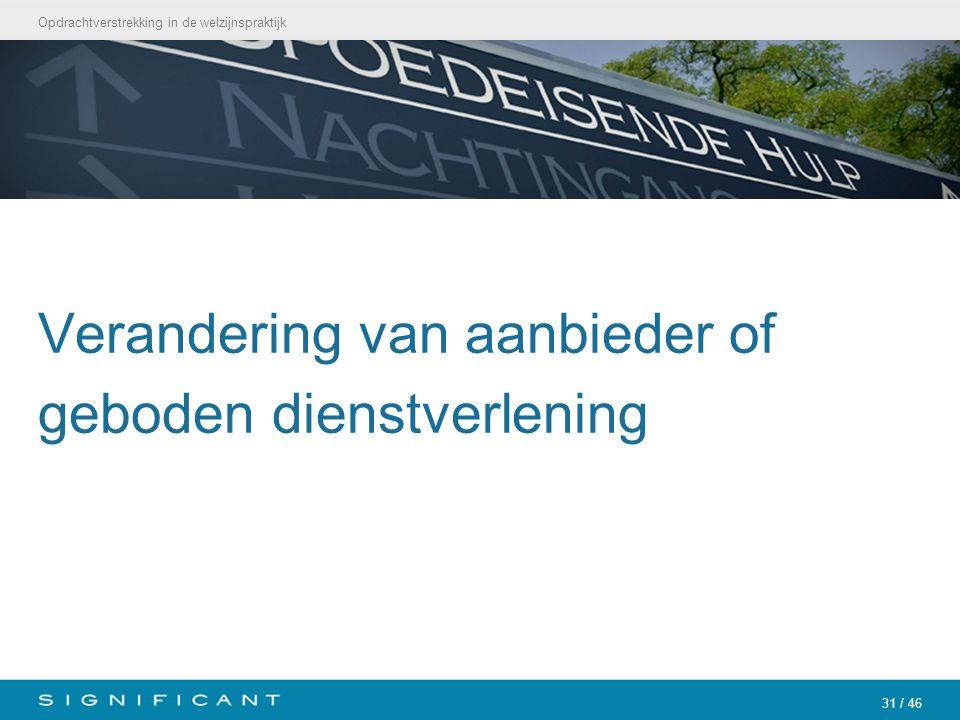 Opdrachtverstrekking in de welzijnspraktijk 31 / 46 Verandering van aanbieder of geboden dienstverlening