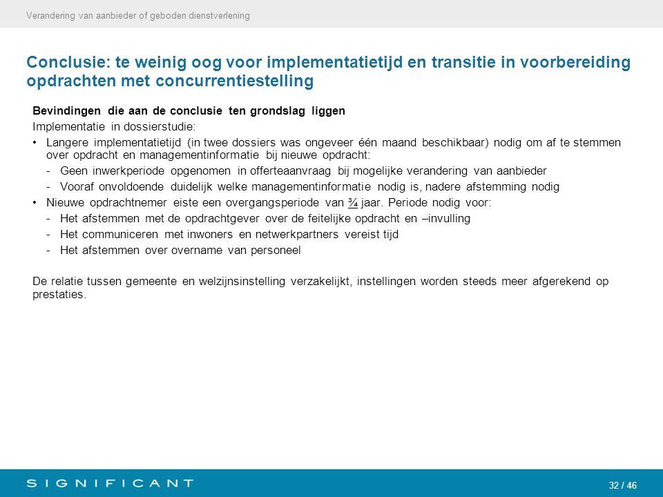 32 / 46 Conclusie: te weinig oog voor implementatietijd en transitie in voorbereiding opdrachten met concurrentiestelling Bevindingen die aan de concl